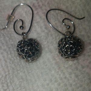 Pandora Sterling Silver Flowers Daggle Earrings